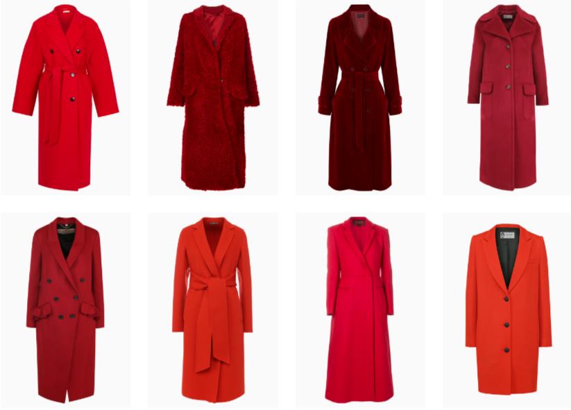 фото модных моделей красных пальто