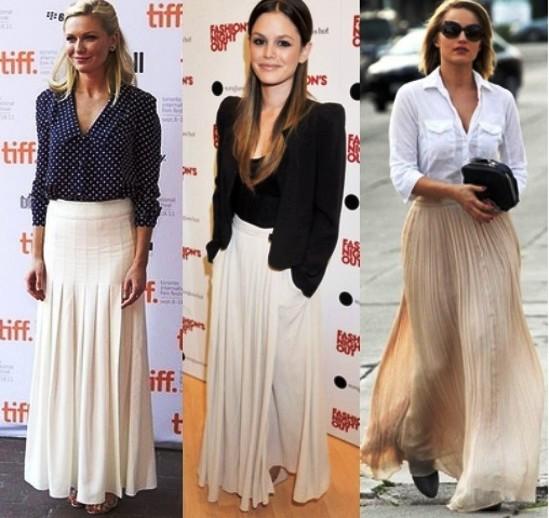 Под белую юбку можно подобрать верх любого цвета