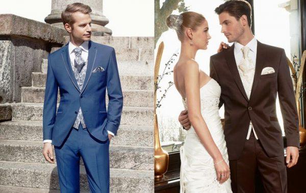 У мужчин свадебный наряд - это классический костюм, цвет которого может быть разным