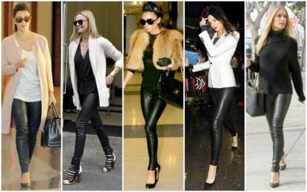 Кожаные брюки подходят  стройным и худеньким девушкам