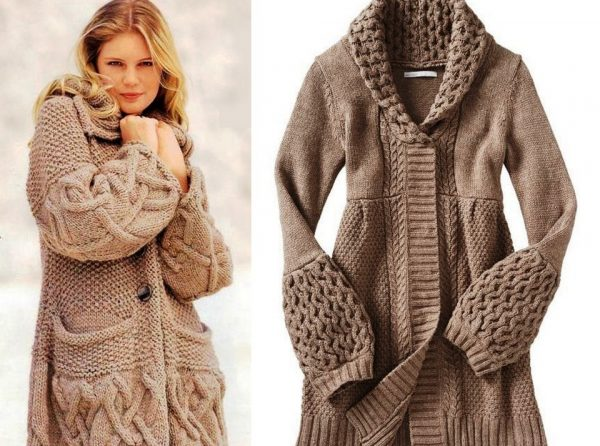 Вязаное пальто станет модным дополнением вашего гардероба