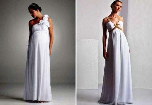Платье в греческом стиле - самый удачный вариант для беременной невесты