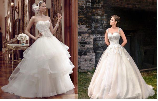 Корсетные модели свадебного платья подчеркивают талию и отвлекают от «проблемной» зоны широких бедер.