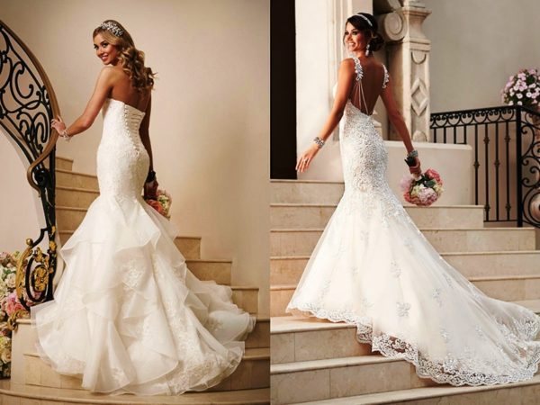 В данном случае идеальным будет платье силуэта «русалка» или платье с пышной юбкой.
