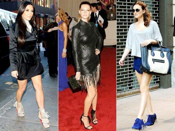 Нередко модно увидеть знаменитостей в обуви с бахромой