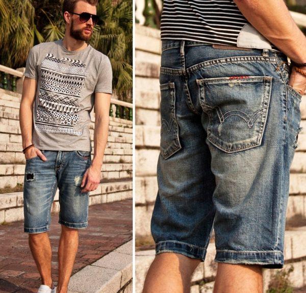 Мужские джинсовые шорты синего цвета считаются классическими