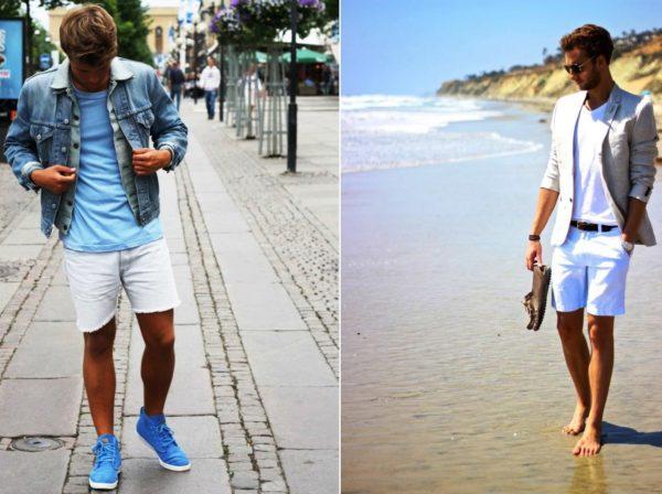 Белые мужские шорты всегда будут смотреться модно и элегантно