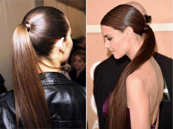 Для такого цвета волос идеальной прической является конский хвост, считающейся эталоном стиля, женственности и кокетливости