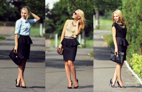 На этом фото юбка-карандаш с воланами - делает строгий образ более женственным