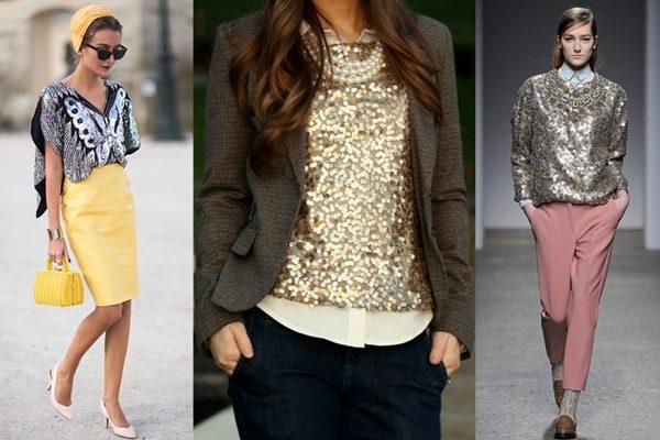 Экстравагантное сочетание — минималистский блестящий топ и шикарные брюки